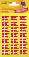 Avery etiket med dansk flag 12x22mm, 84 stk