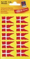 Avery etiket med dansk flag 18x34mm, 40 stk