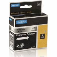 Dymo RhinoPro permanent polytape 19mm x 5,5m sort på metal