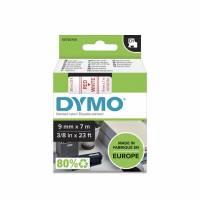 Dymo labeltape D1 9mm 40915 rød på hvid