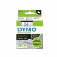 Dymo labeltape D1 12mm 45011 blå på klar