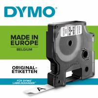 Dymo labeltape D1 12mm 45013 sort på hvid