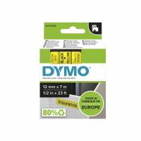 Dymo labeltape D1 12mm 45018 sort på gul