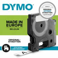Dymo labeltape D1 12mm 45021 hvid på sort