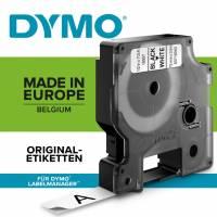 Dymo 16957 D1 Permanent nylon 12mm sort på hvid
