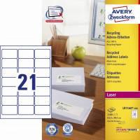 Avery adresse etiketter af 100% genbrugspapir LR7160-100, 63,5x38,1mm