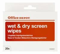 Office Depot renseservietter tør & våd til skærm, 20 sæt