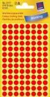 Avery etiket Ø8mm 3177 neon rød