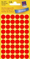 Avery etiketter Ø12mm 3147 neon rød