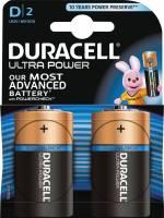Duracell Ultra Power D alkaline batteri med tester, 2 stk