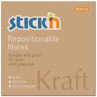 Stick'N notes genbrugsblok 76x76mm brun