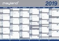 Mayland vægkalender 2x6mdr. papir 100x70cm 19064000