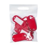 Office nøgleskilte med skrivefelt og O-ring rød