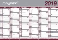 Mayland vægkalender kæmpe 100x70cm 2x6mdr. i rør 20807500
