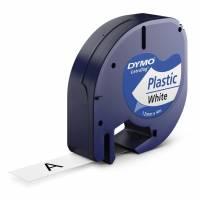 Dymo LetraTAG 12mmx4m labeltape plast sort på hvid