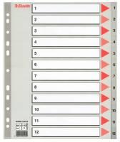 Esselte register A4 grå 1-12 maxi