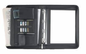 Eurostyle dokumentmappe med ringe og lynlås A4 kunstlæder sort