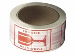 Pakketape PVC med rødt tryk 'forsigtig' 50mm x 66 meter