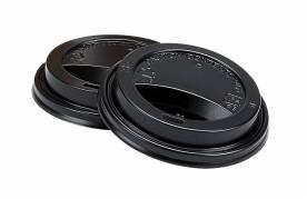 Drikkelåg med hul til kaffebæger 8oz 25cl sort