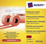 Avery prisetiketter til Double Line 26x16mm rød