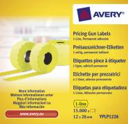 Avery prisetiketter til Single Line 26x12mm gul