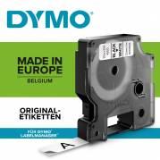 Dymo labeltape D1 12mm 45013 sort på hvid