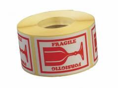 """Etiket med tekst """"Forsigtig/ Fragile"""" 45x65mm, 1000 stk"""
