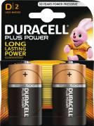 Duracell Plus Power D batteri, 2 stk