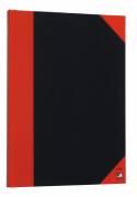 Kina Notesbog A5 linieret sort/rød