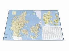 Skriveunderlag Danmarkskort med postnumre 44x63cm