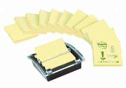 Post-it Z-notes recycled gul 12 blokke + 1 Millenium dispenser