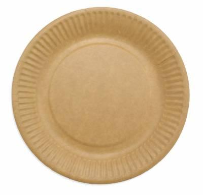 Paptallerken frokost miljøvenlig Ø18cm brun