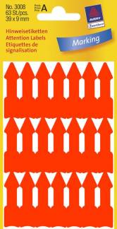 Avery selvklæbende pile 39x9mm neon orange