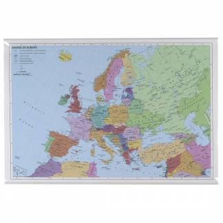 Naga europakort til væg 97x67cm lamineret