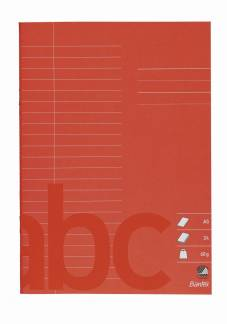 Bantex skolehæfte A5 22 linjer 24 sider 60g rød