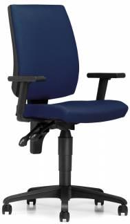 Taktik kontorstol med bløde hjul og armlæn blå