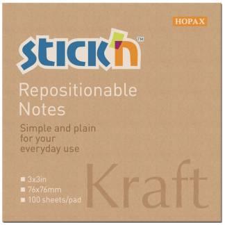 Stick'N notes genbrugsblok 76x76mm brun