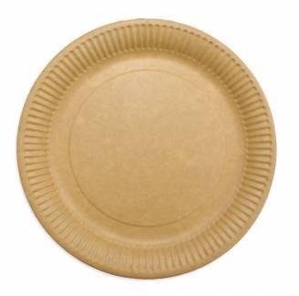 Paptallerken frokost miljøvenlig Ø23cm brun