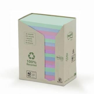 Post-it notes Miljø genbrugspapir 76x127mm regnbuefarvet
