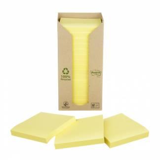 Post-it notes tårn Miljø genbrugspapir 76x76mm gul