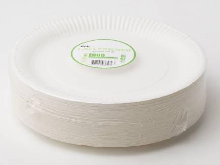 Miljøtallerken middag pap flad Ø23cm hvid
