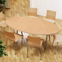 Konferencebord bådeformet 200x120cm bøg laminat