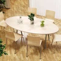 Konferencebord bådeformet 200x120cm birk laminat