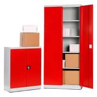 DuoStore opbevaringsskabe i stål med rød dør