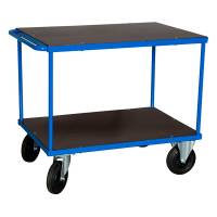Rullebord med 2 hylder 870x1000x700mm blå