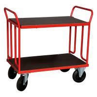 Rullebord med 2 hylder og gavl 1000x600x1000mm rød