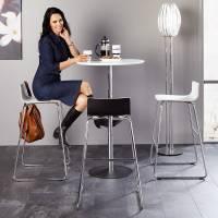 Cafe VII barstol sort laminat og krom stel