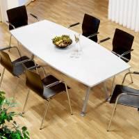 Consensus konferencebord 200x90cm med hvid bordplade