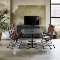 Møderum 3 med antracit konferencebord 320cm, 8 stole og kontorskab