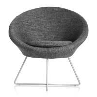 Paris loungestol med alugrå ben og grå stof